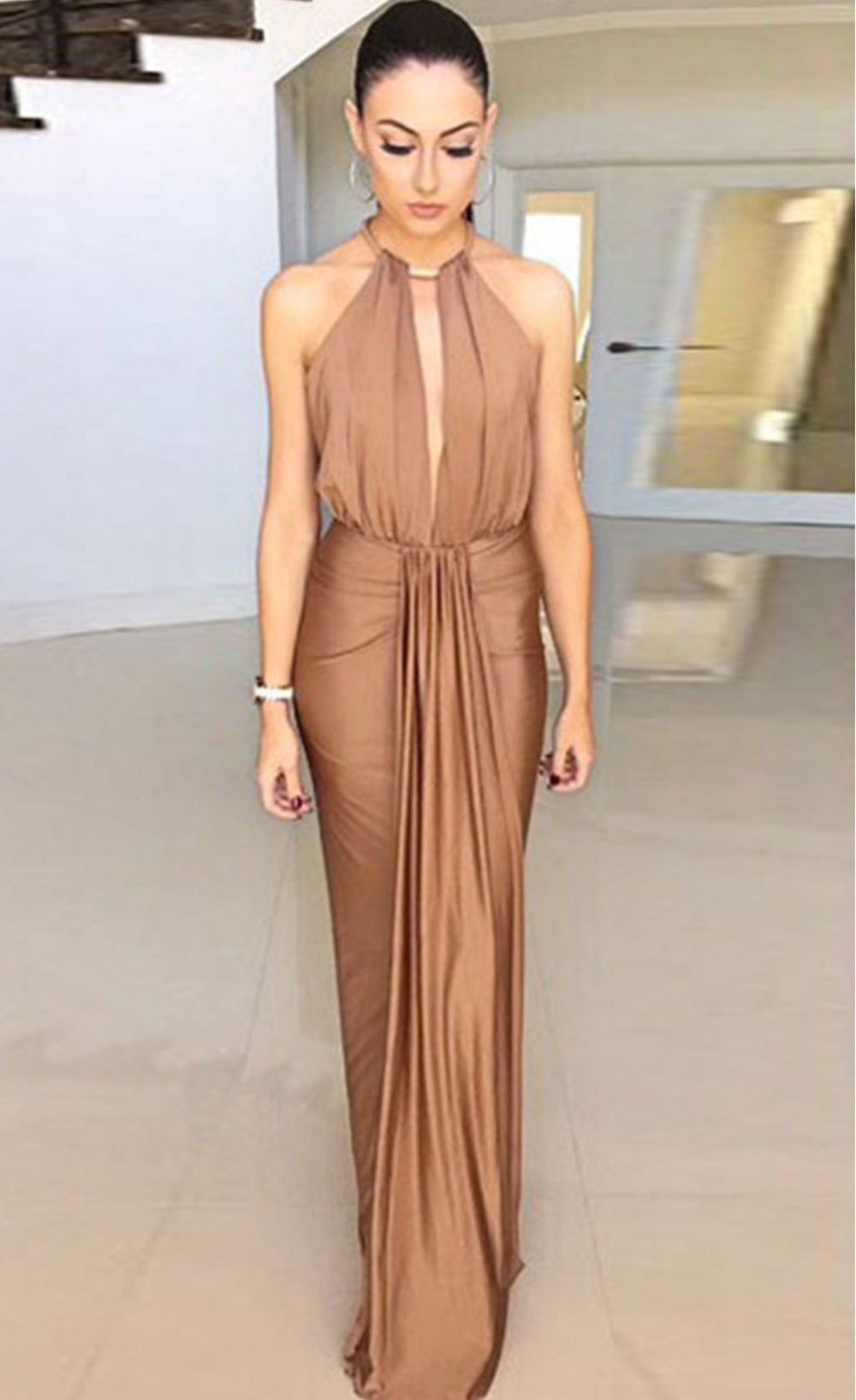 camel silky jewel halter evening dress stella la moda