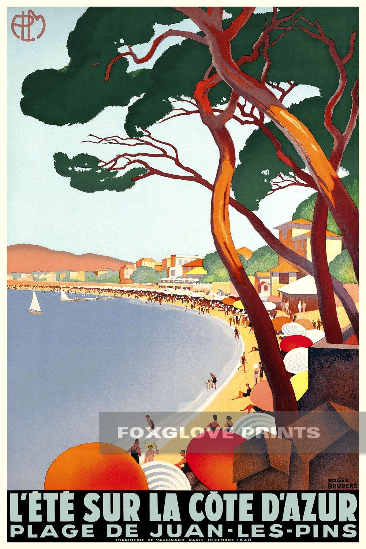 L Ete Sur La Cote D Azur Vintage French Travel Poster Vintage Poster Art Art Deco Posters Vintage Travel Posters
