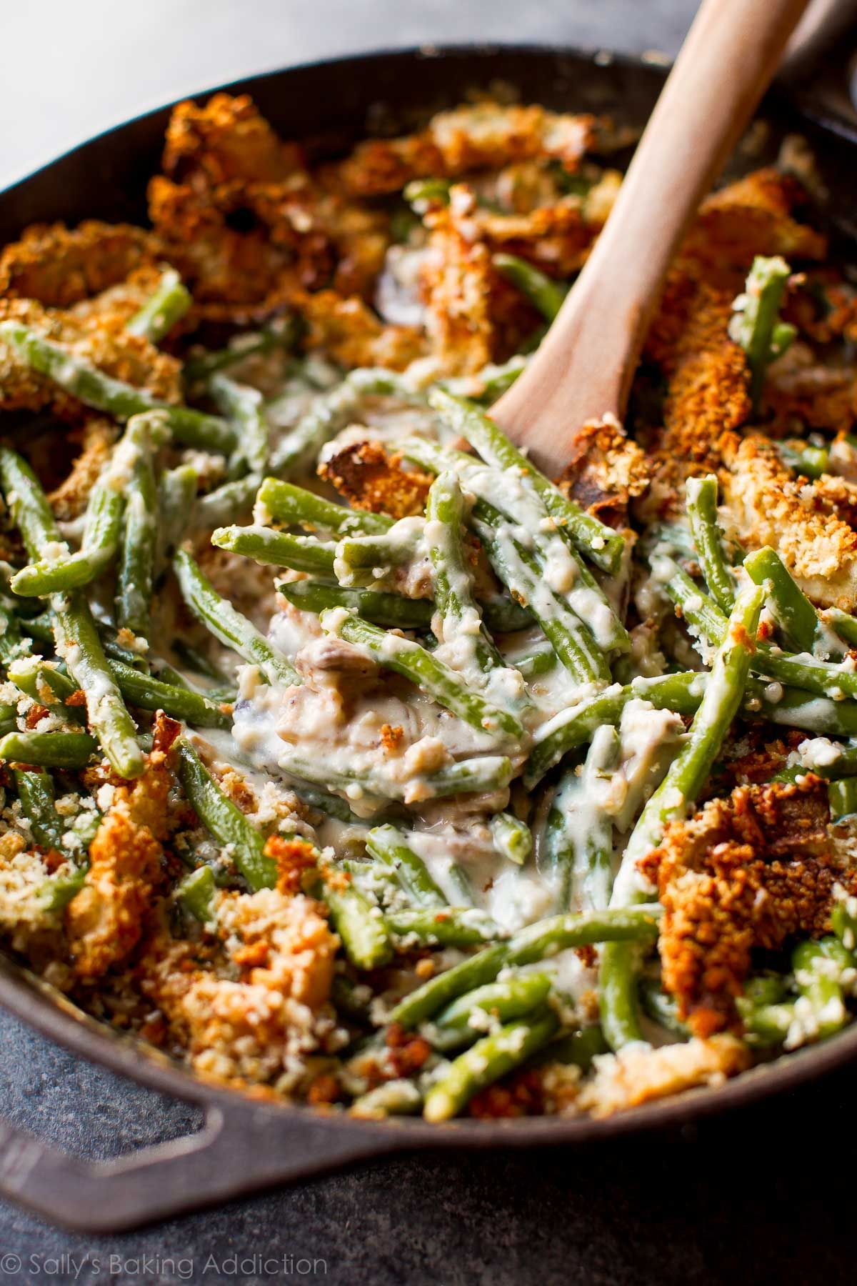 Creamy Comforting Green Bean Casserole Made Completely From Scratch Easy Thanksgiving Side Dish Recipe On Sallysbakingaddiction Com
