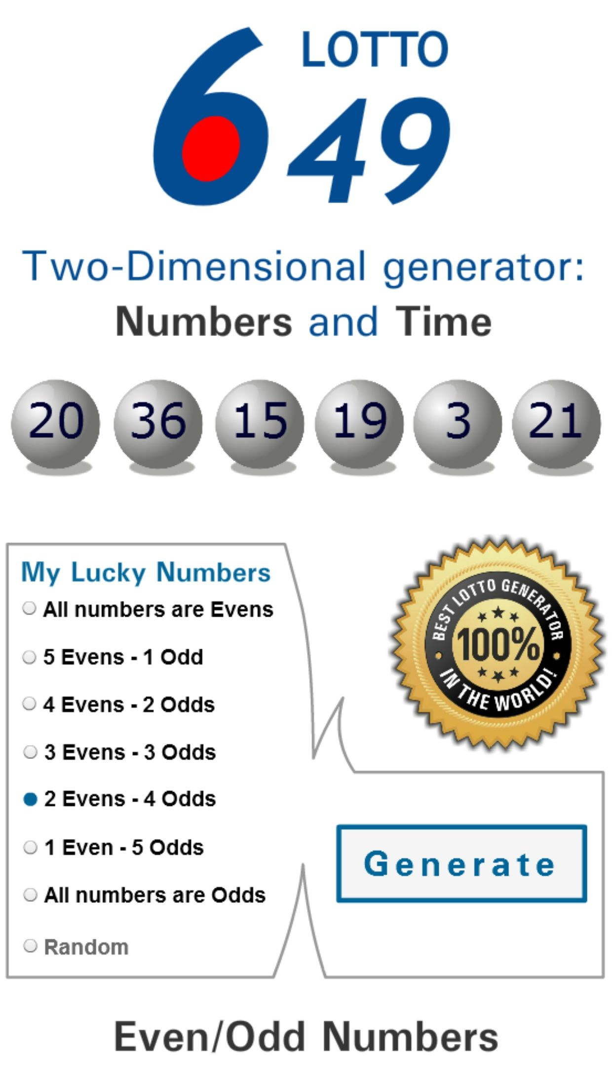 This app helps players to choose Worldwide Lotto Universal Lottery winning  numbers with an algorithm. Generating two-dimensional and Even/Odd numbers.