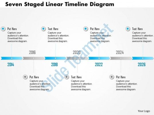 0115 seven staged linear timeline diagram powerpoint template - sample timelines
