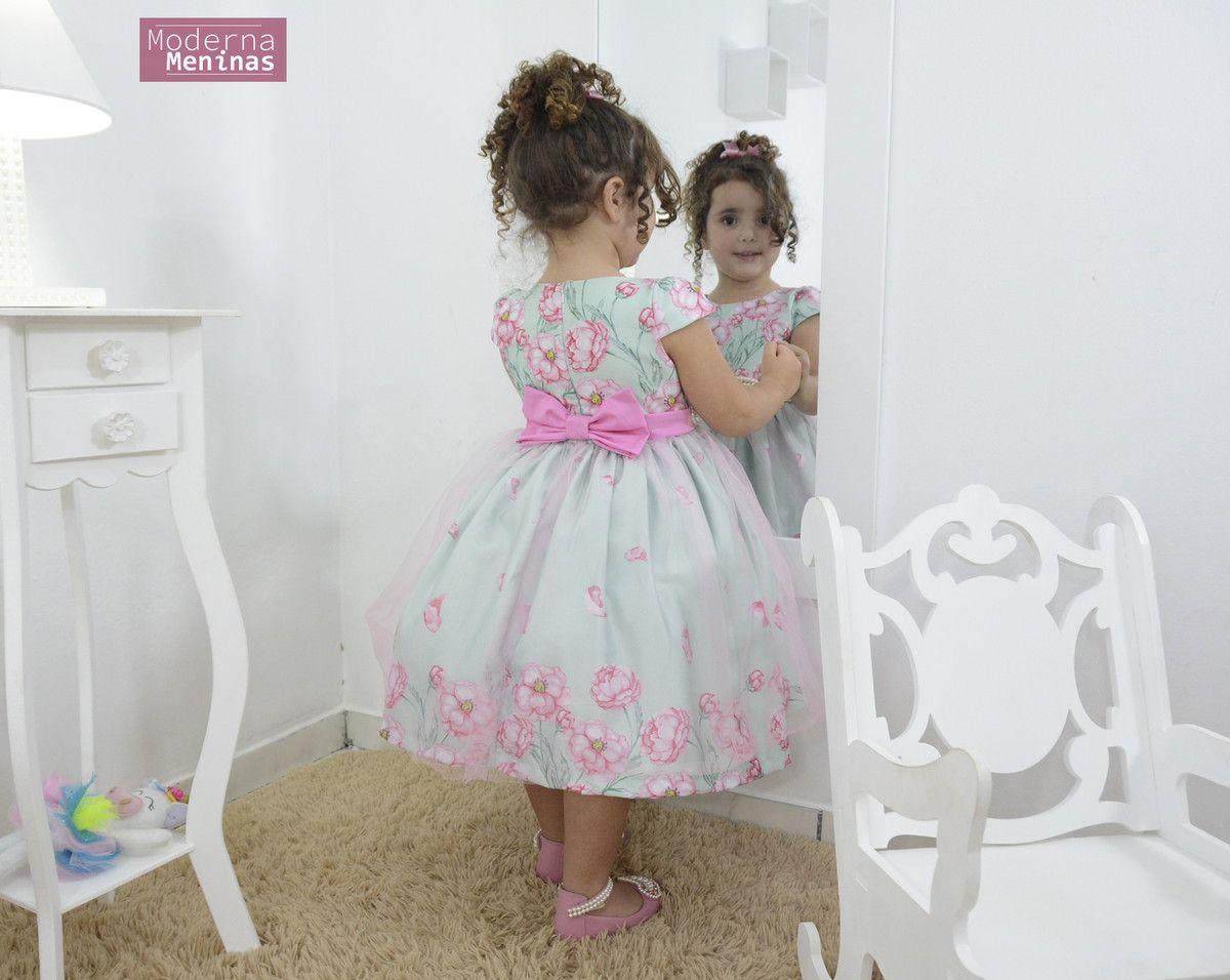 f0272a92d9 Vestido infantil sonho encantado rosa com verde água