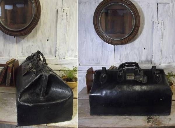 アンティーク 昭和レトロ 古い革製のドクターバッグ_画像1