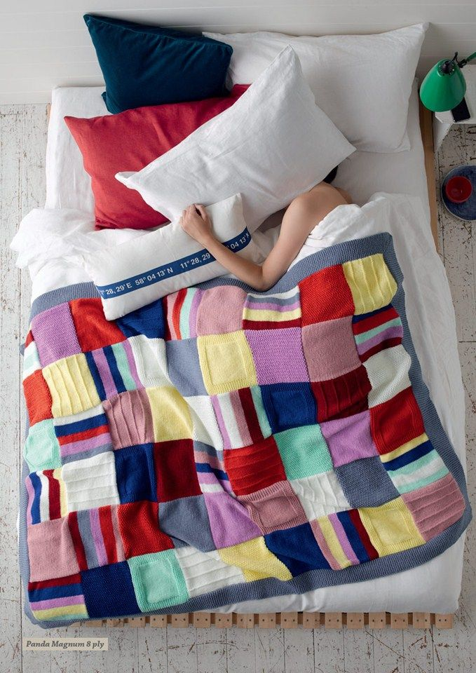 Colourful Patchwork Knit Throw By Panda Australia