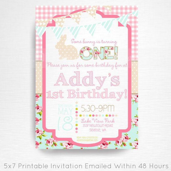 Pink Bunny Birthday Party Printable Invitation YOU Print Spring Bunny Easter Birthday Floral Pink Blue  This is an emailed file, nothing will be shipped to you. Please include your childs name, age and party details in the notes to seller section at checkout.  We will email your high-resolution, print-ready file within 48 hours of receiving your party details and photo (if photo invitation has been purchased please email your photo to amy [at] printpopparty.com).  Your invite will be…
