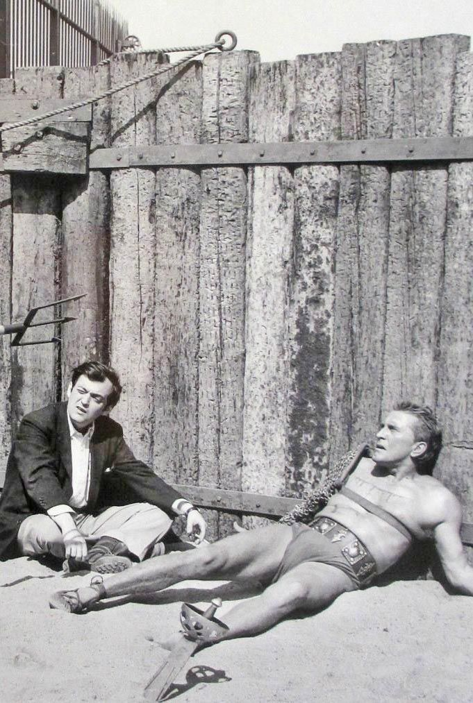 Stanley Kubrick and Kirk Douglas on the set of Spartacus (1960).