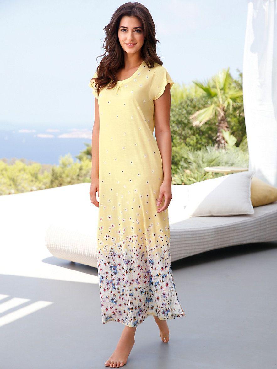 Charmor - La chemise de nuit - jaune multicolore   pyjama,peignoiret ... 2e58ed465c0