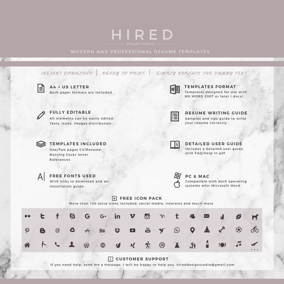 Professional Resume Template Creative Resume for Word Resume + - references on a resume template