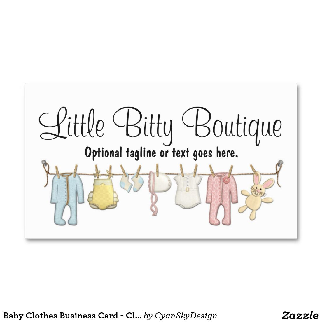 Baby Clothing Clothesline Infants Sewing Boutique Business Card ...