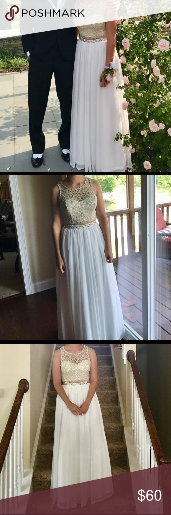 Prom dress gold top prom night and white skirts