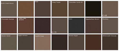 Dark brown paint colors designers favorite brands colors designers favorite browns top row l to r bm north creek brown urmus Gallery