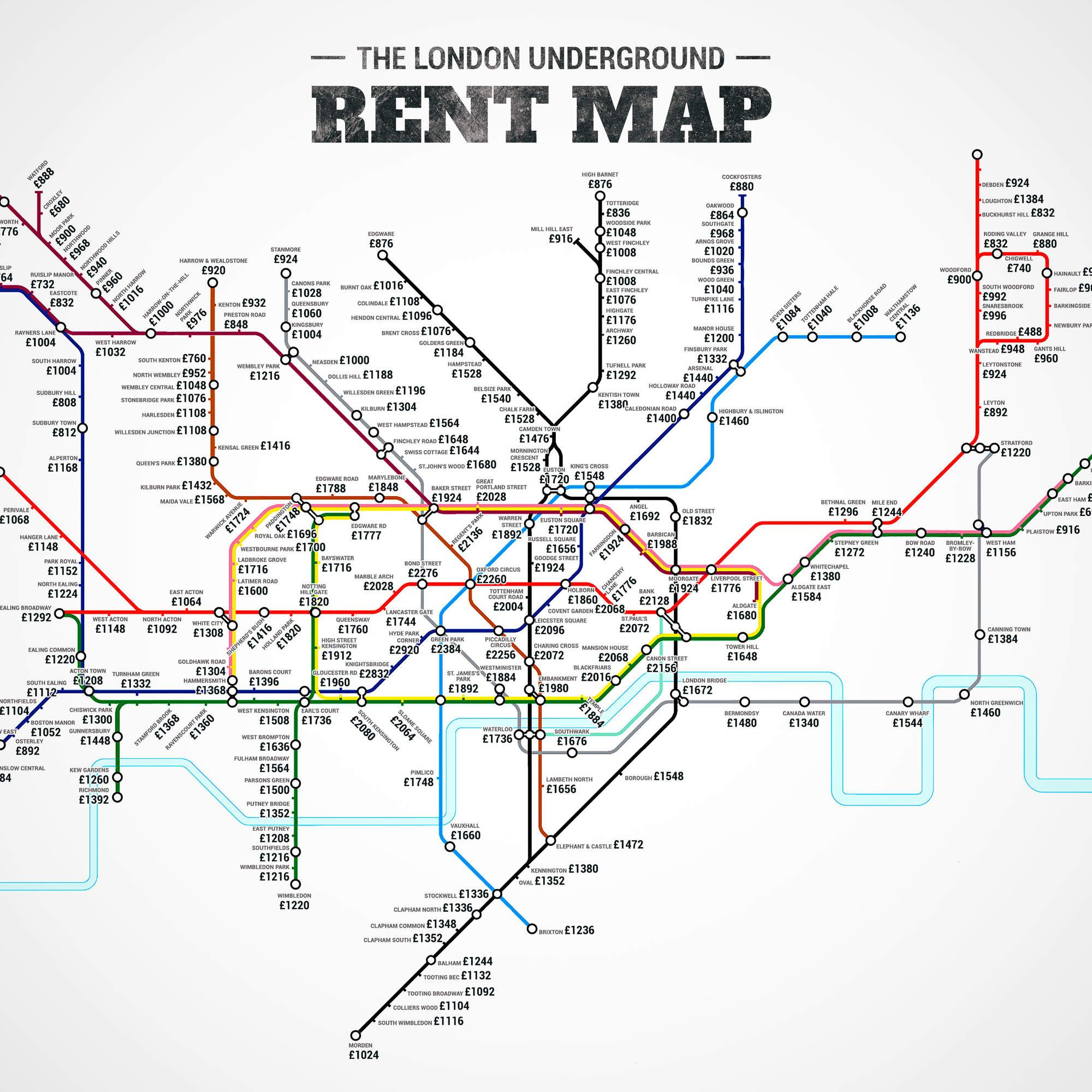 The London Underground Rent Map Where You Can T Afford To Live By Stop London Underground London Tube Map London
