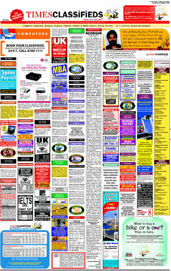 Book Classifieds in Times Of India Instantly Online at www