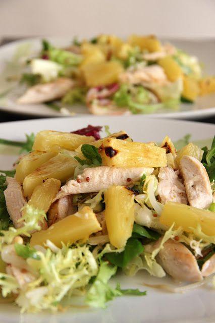 Chicken salad and roasted pineapple