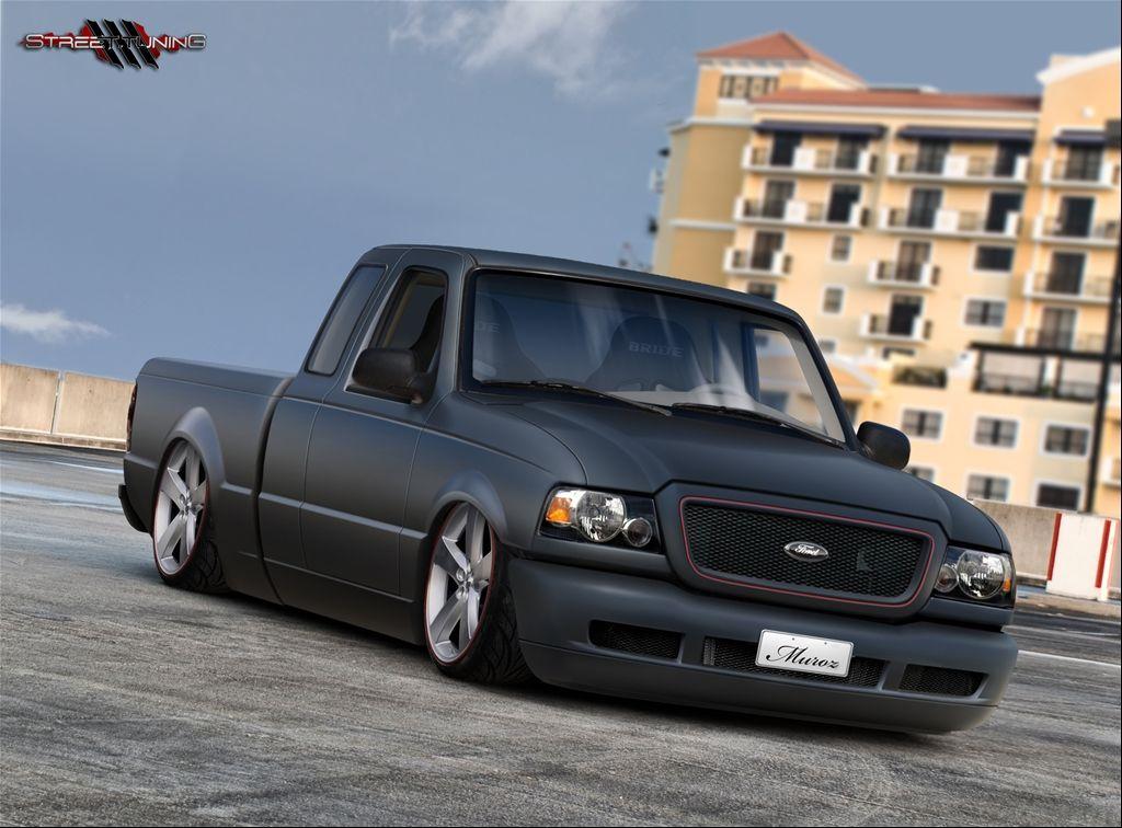 black 1994 ford ranger dropped