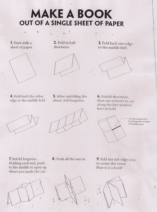 How to make a book out of a single sheet of paper. Use for