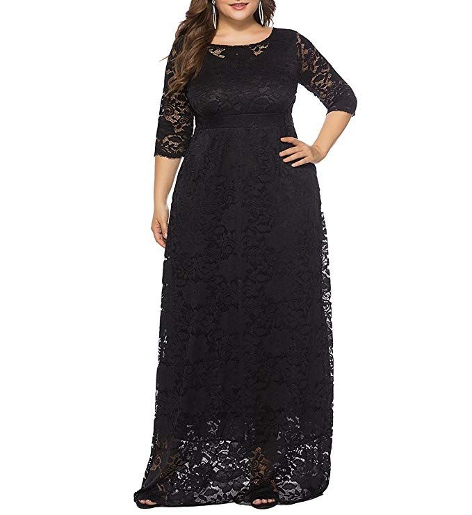 ae1124e8dd0 Eternatastic Womens Floral Lace 2 3 Sleeves Maxi Dress Evening Party Long  Dress XL Black