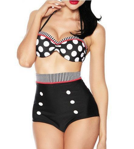 REFAGO Black and White Wave Point Swimsuit 6Zlrud5bL