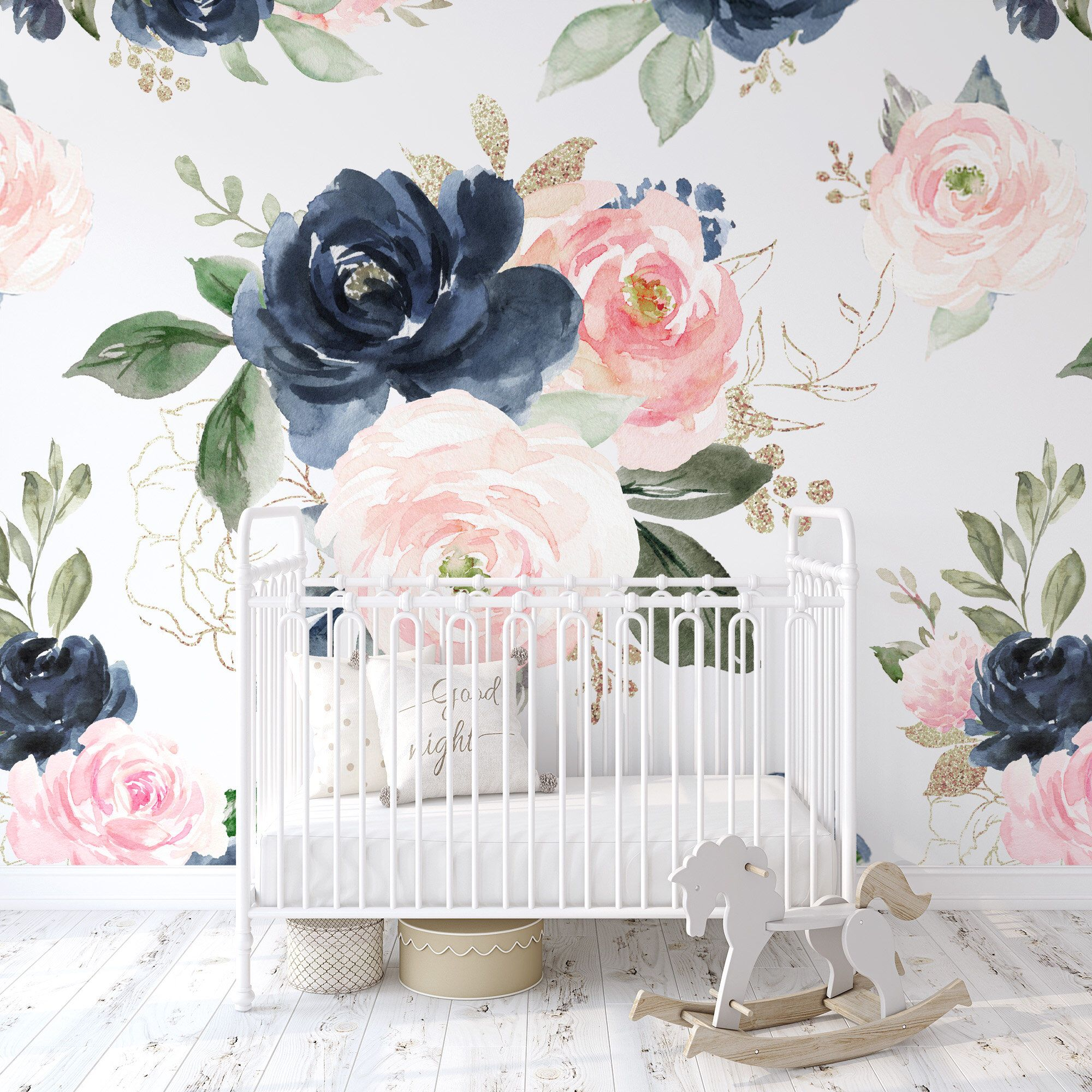 Navy Pink Peach Rose Floral Wallpaper / Peel and Stick