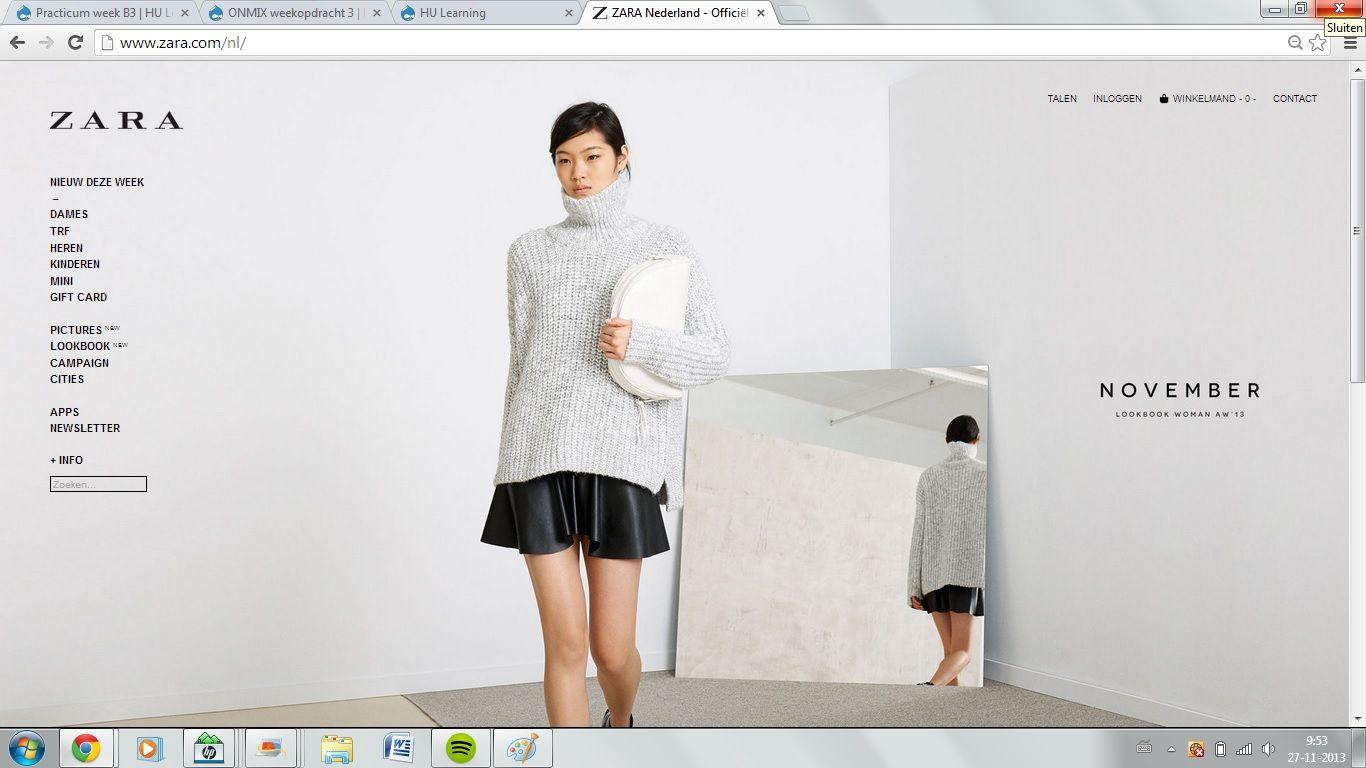 Zara - De site van Zara is rustig en overzichtelijk. Alles wat je nodig hebt kun je daardoor makkelijk vinden. De foto met kleding wisselt om de zoveel tijd waardoor je een goed beeld krijgt van de stijl van Zara.