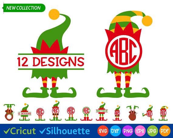 Elf Svg Elf Legs Svg Christmas Svg Files Elf Hat Svg Elf Clip Art Kids Christmas Svg Split Monogram Svg Cricu Christmas Svg Files Christmas Svg Cricut Monogram