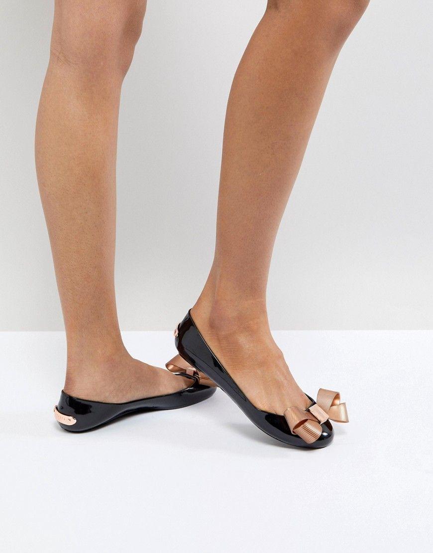 a5717305ced4 TED BAKER LARMIAR BLACK AND ROSE GOLD BALLET FLATS - BLACK.  tedbaker  shoes