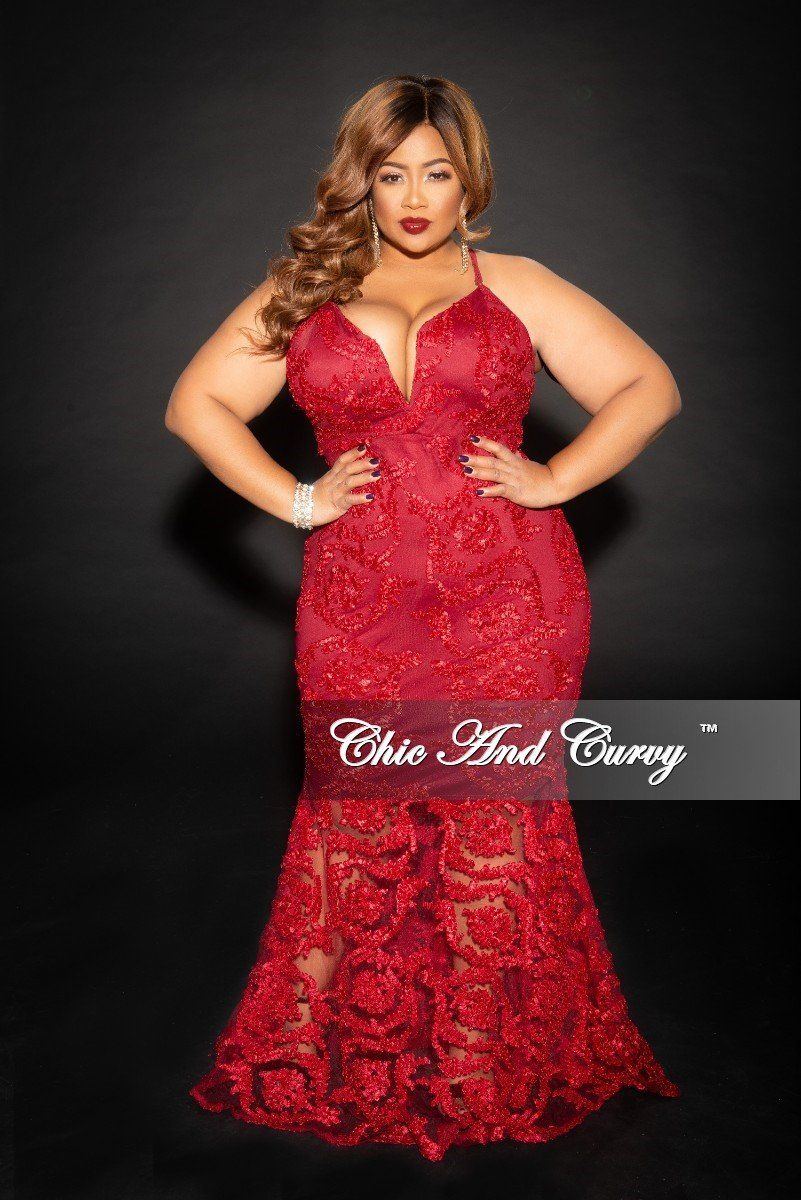 9a62d2b82be Plus Size Deep V Sleeveless Mesh Gown with Mermaid Bottom – Chic And Curvy