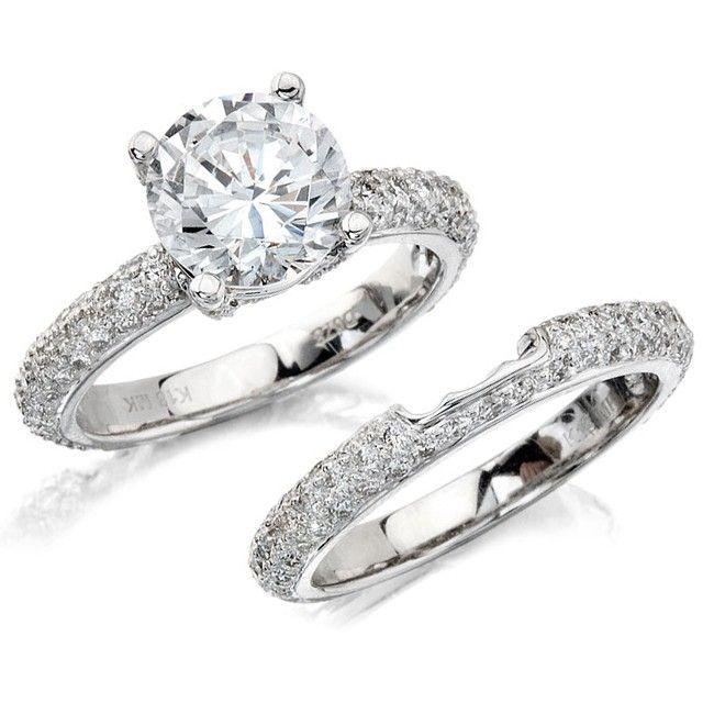 14k white gold pave prong diamond bridal set nk10224we w l