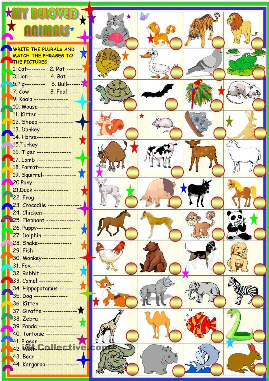 my beloved animals plurals and matching esl worksheets of the day. Black Bedroom Furniture Sets. Home Design Ideas