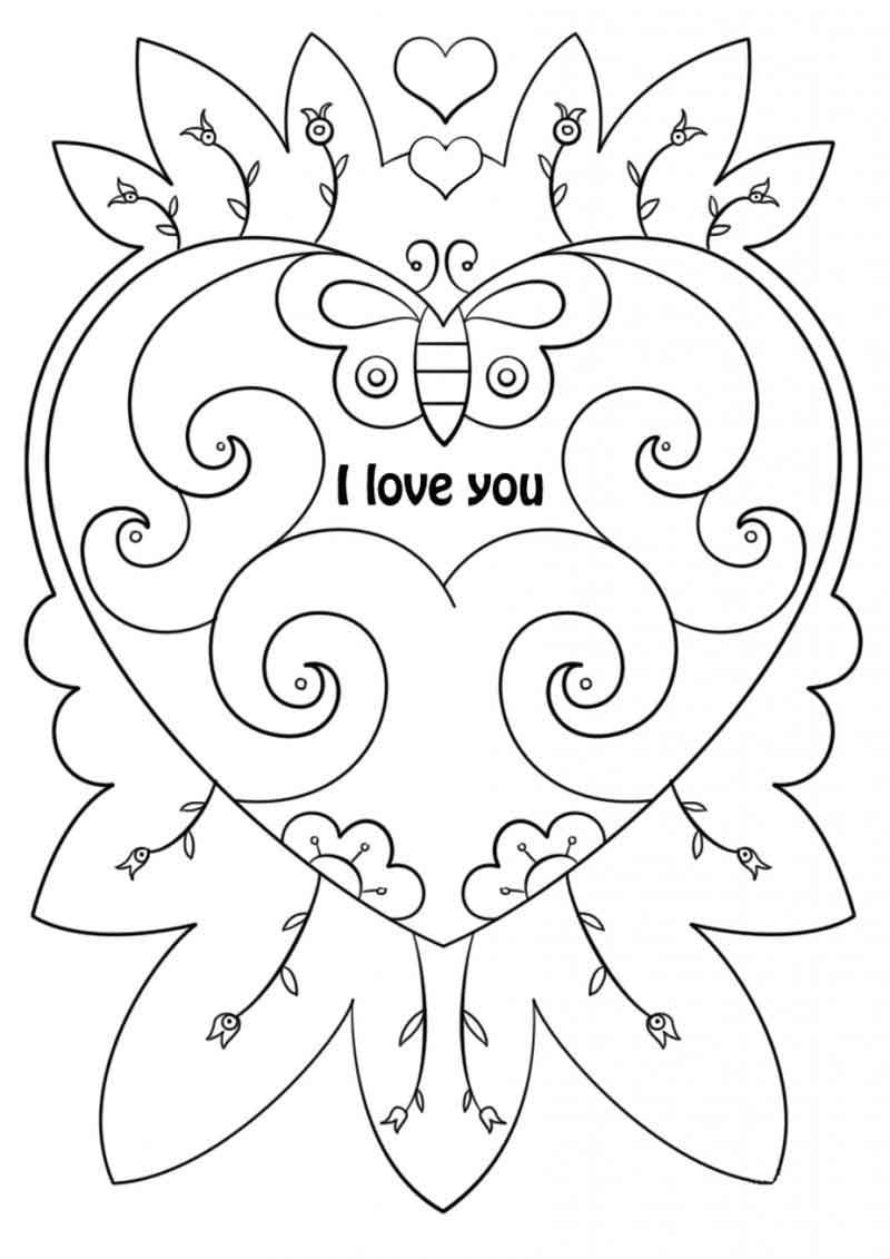 I Love You Heart Valentines Coloring Card