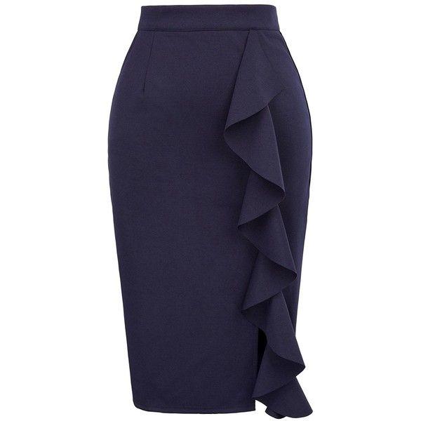 234cd711ce GRACE KARIN Women's High Waisted Midi Slim Bodycon Ruffled Pencil... ($20)  ❤ liked on Polyvore featuring skirts, high-waisted skirt, navy blue pencil  skirt ...