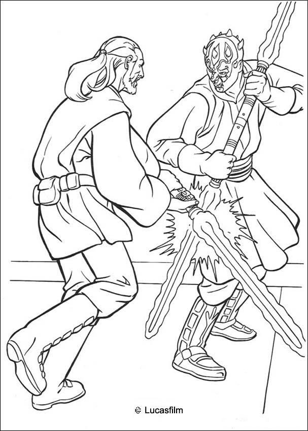 Jedi knight qui gon jinn fighting a duel with darth maul coloring page star wars