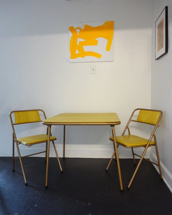 Vintage Cosco Folding Table and Chairs Set by RewindHomeInteriors $100.00 & Vintage Cosco Folding Table and Chairs Set Mustard Yellow Vinyl ...