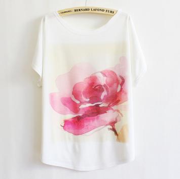 Watercolor Rose Print T-shirt