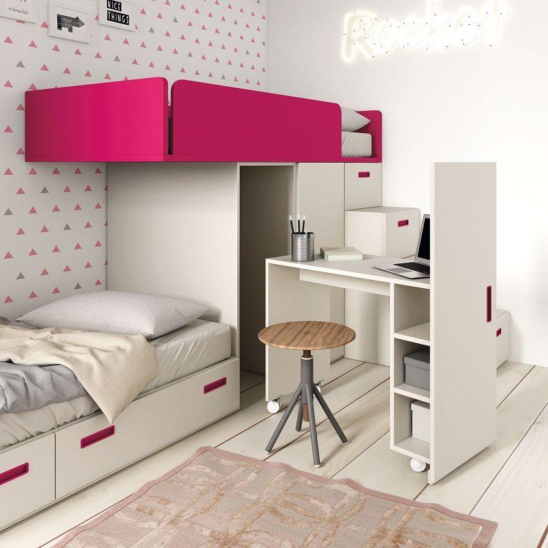 Cama tren con escritorio extraible i want this house pinterest tren escritorios y camas - Cama tren ikea ...