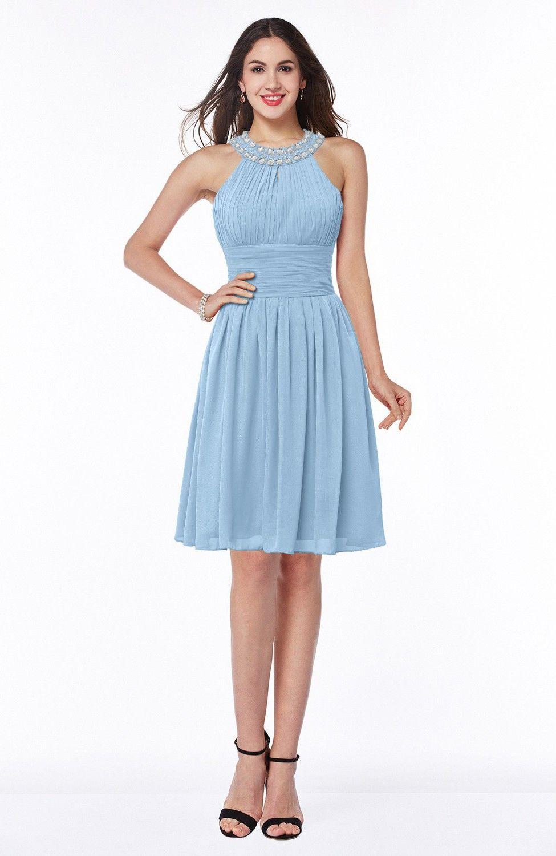 Sky Blue Bridesmaid Dress - Glamorous Sleeveless Zipper Knee Length ...