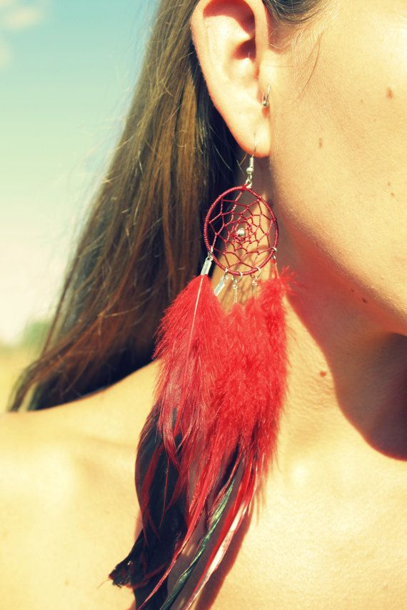 Dream Catcher Feather Earring Long 8 9 Inches Red Symbolism