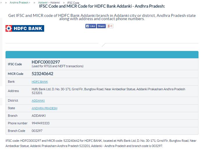 Hdfc Bank Ifsc Code Addanki Branch Addanki Http Www