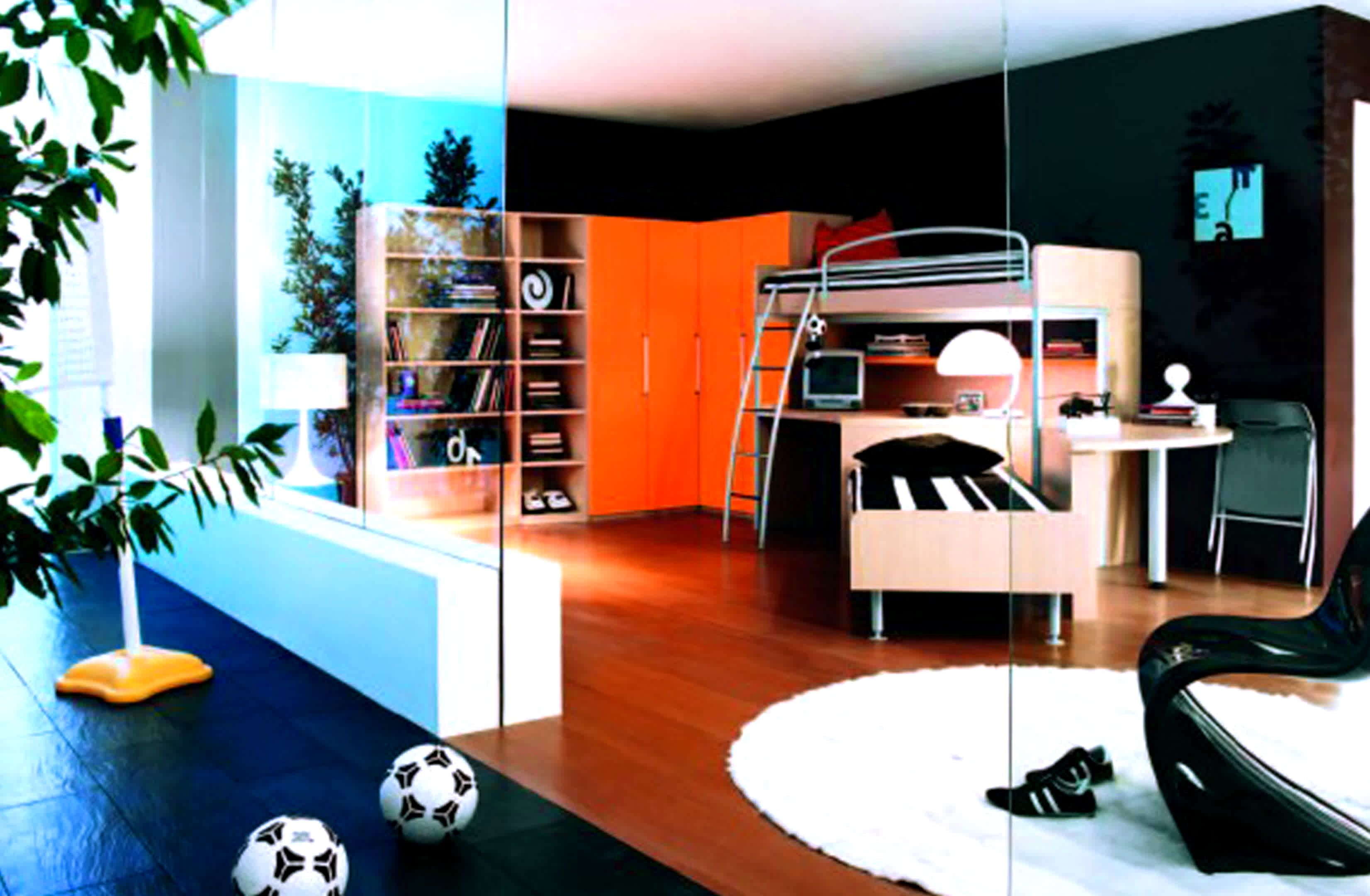 Modern Bedrooms For Teenage Boys. Kids Room: Luxury Boys Teenage Bedroom  Ideas With Wooden Bunk Bed Also Huge Orange Closets Modular Bookcase  Contemporary ...
