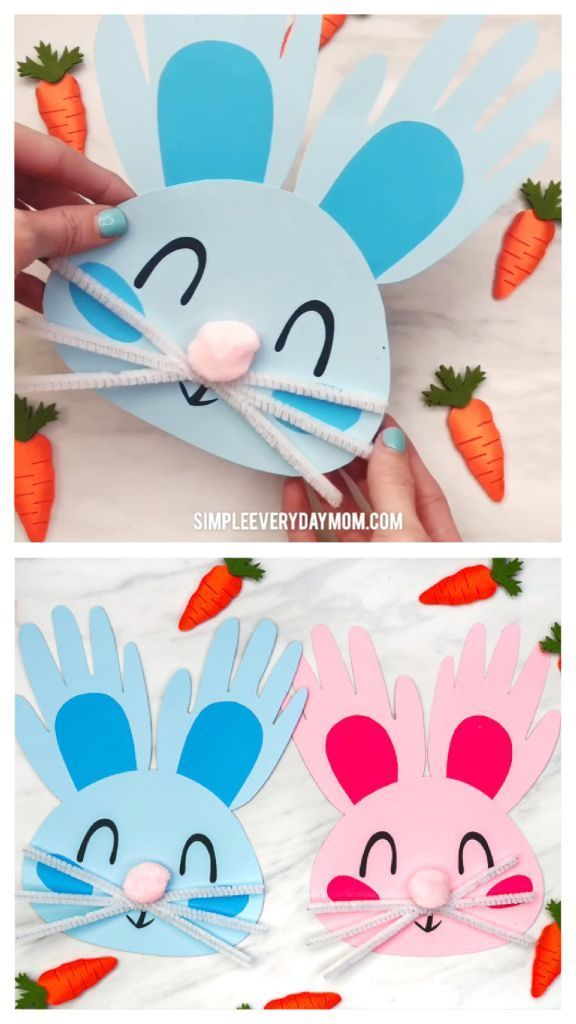 Handprint Bunny Craft For Kids | Toddlers, preschool and kindergarten kids will love making these