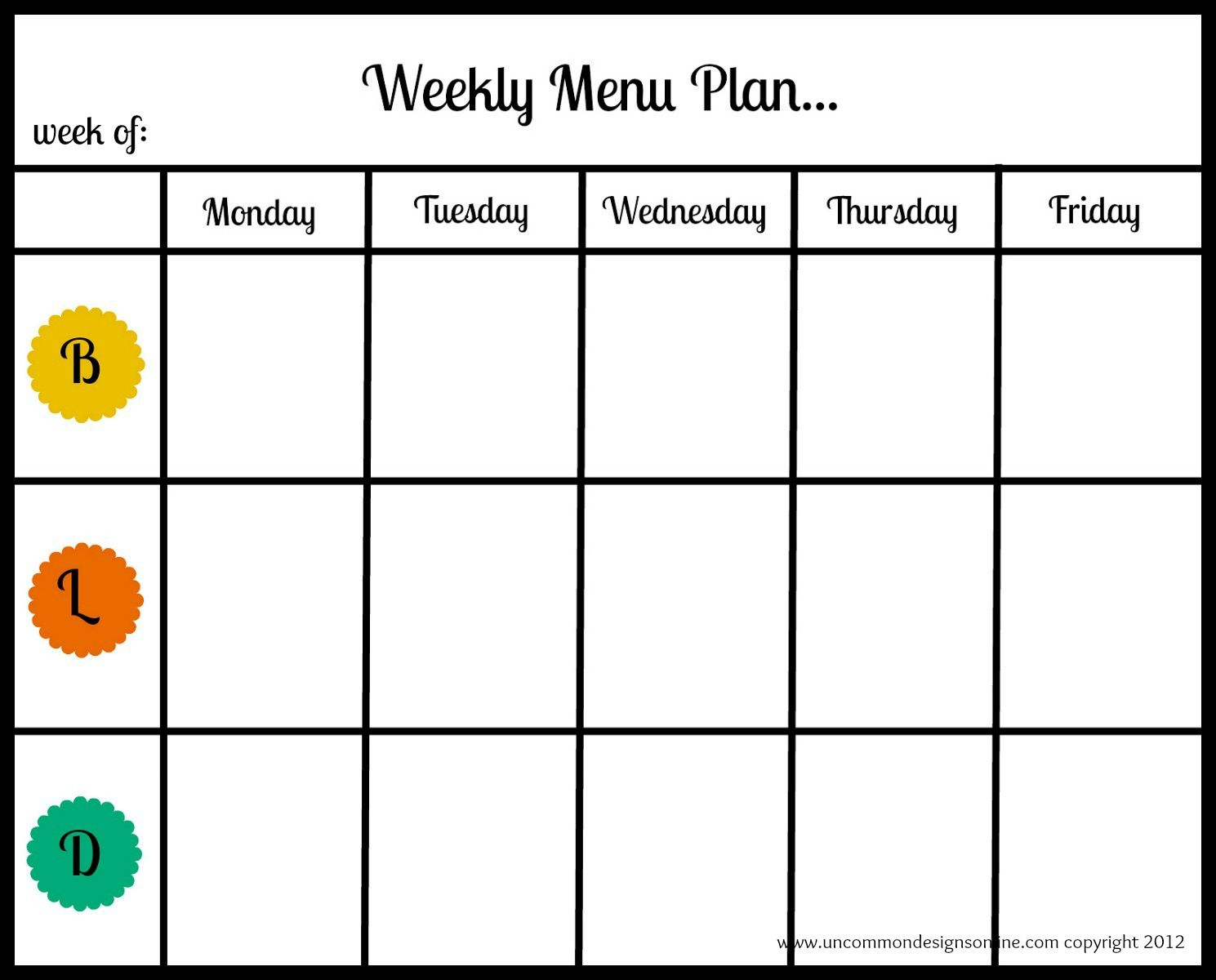 Meal Planning Printables And Tips  Menu Planning Printable Menu