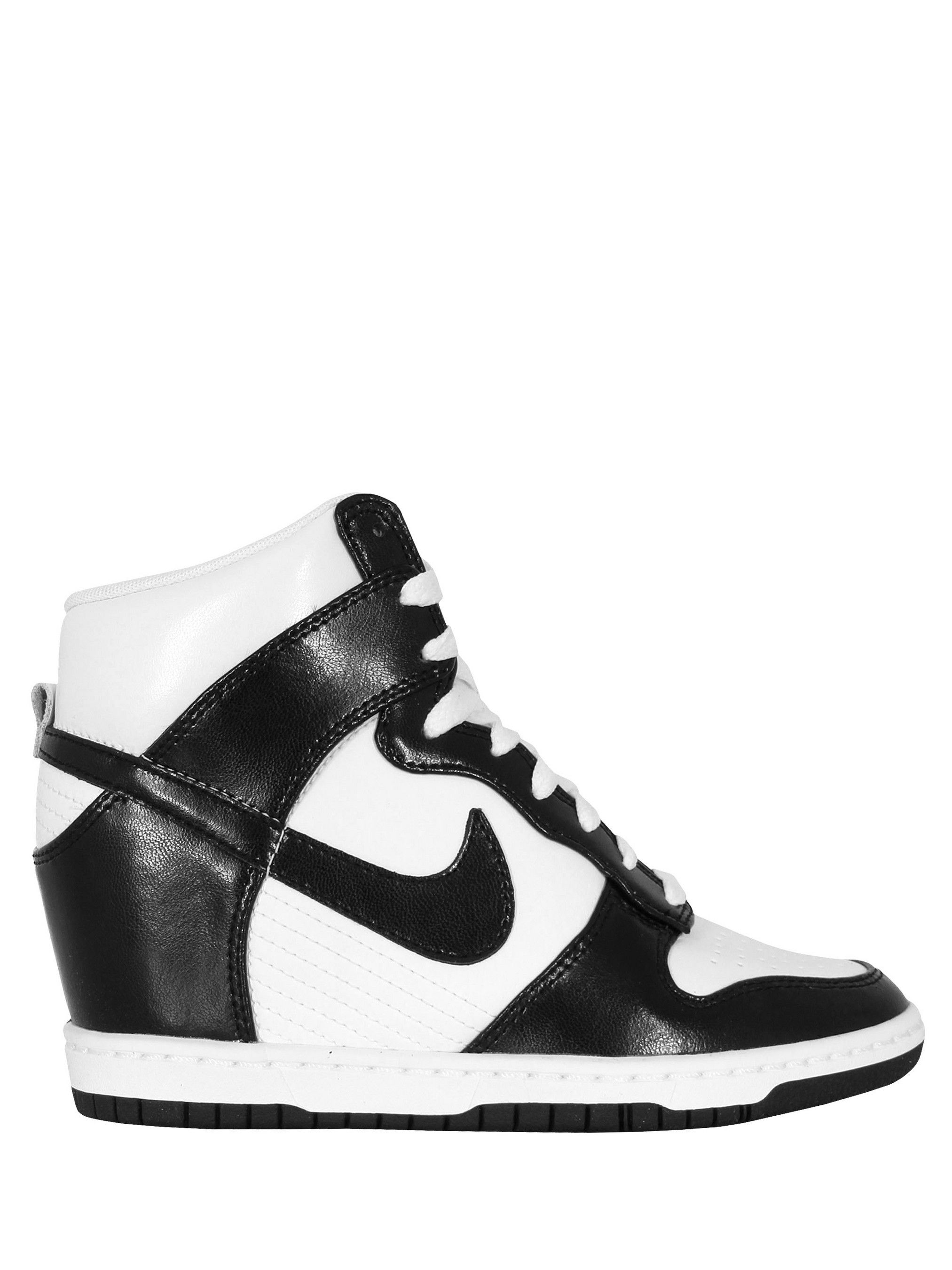 size 40 a2583 1a0a0 Nike – Dunk Sky Hi, womens black and white leather trainers with a  concealed 6.5cm wedge heel and classic Nike  swoosh . The trainers also  feature a padded ...