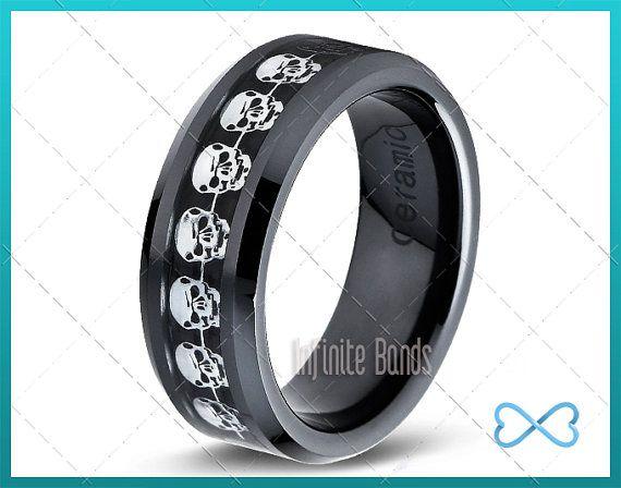 Stainless Steel Black Floral Design Mens Wedding Band Ring 8MMFREE ENGRAVING