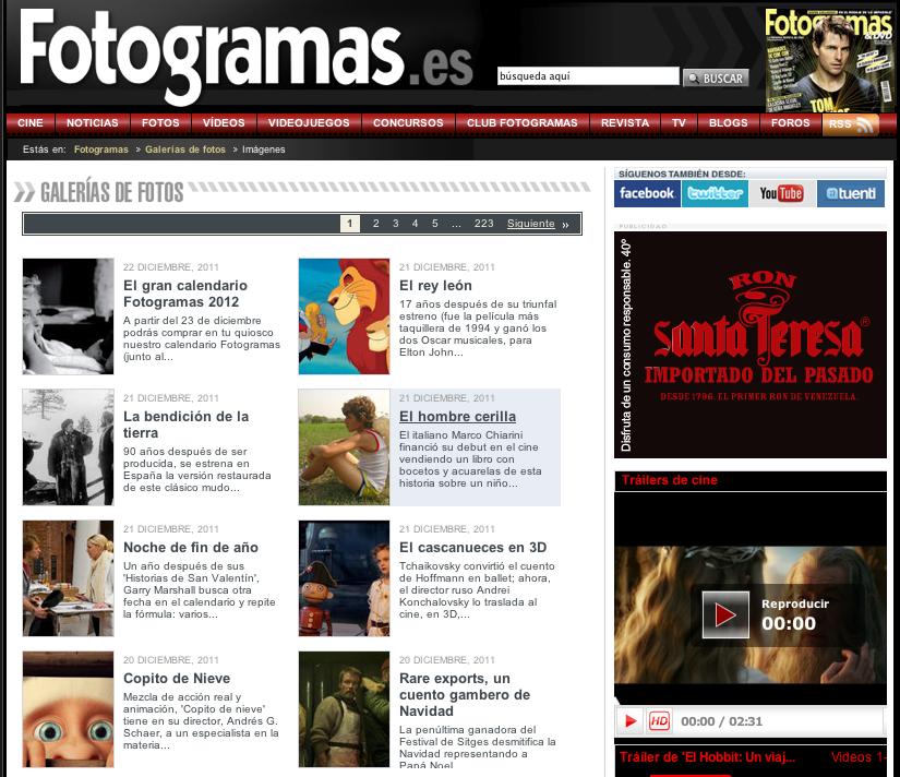 Rediseño web Fotogramas - Sopra Profit | Trabajos Tanta, Clientes ...
