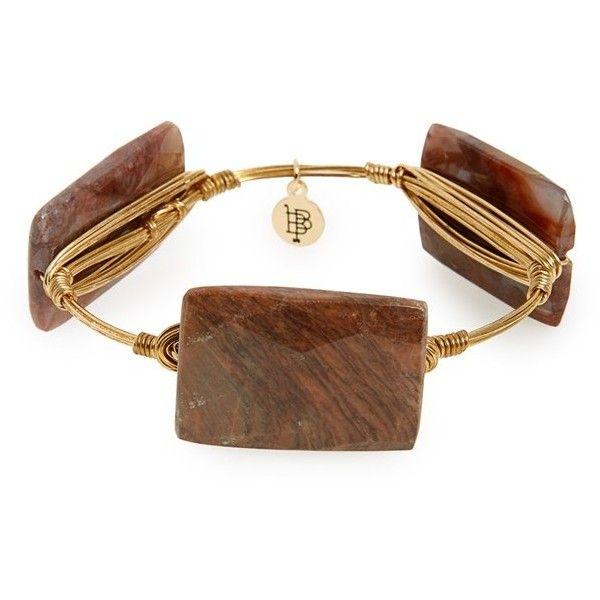 Bourbon and Boweties Stone Bracelet (2,525 INR) ❤ liked on Polyvore featuring jewelry, bracelets, neutral, stone bangles, hand crafted jewelry, gold tone jewelry, stone jewelry and stone jewellery