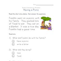 reading comprehension worksheet - having a picnic | Reading ...