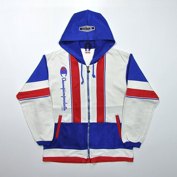 7e5a05581fc5 Rare Vintage 80s 90s CHAMPION Multi Color Block Windbreaker Hoodie Jacket    CHAMPION Jogger Track Jacket Retro Streetwear Hypebeast Colorway
