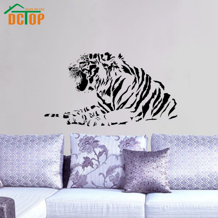 >> Click to Buy << Wholesale High Quality Growling Tiger Wall Stickers Bedroom Decorative Animal Vinyl Removable Wall Decal For Headboard #Affiliate