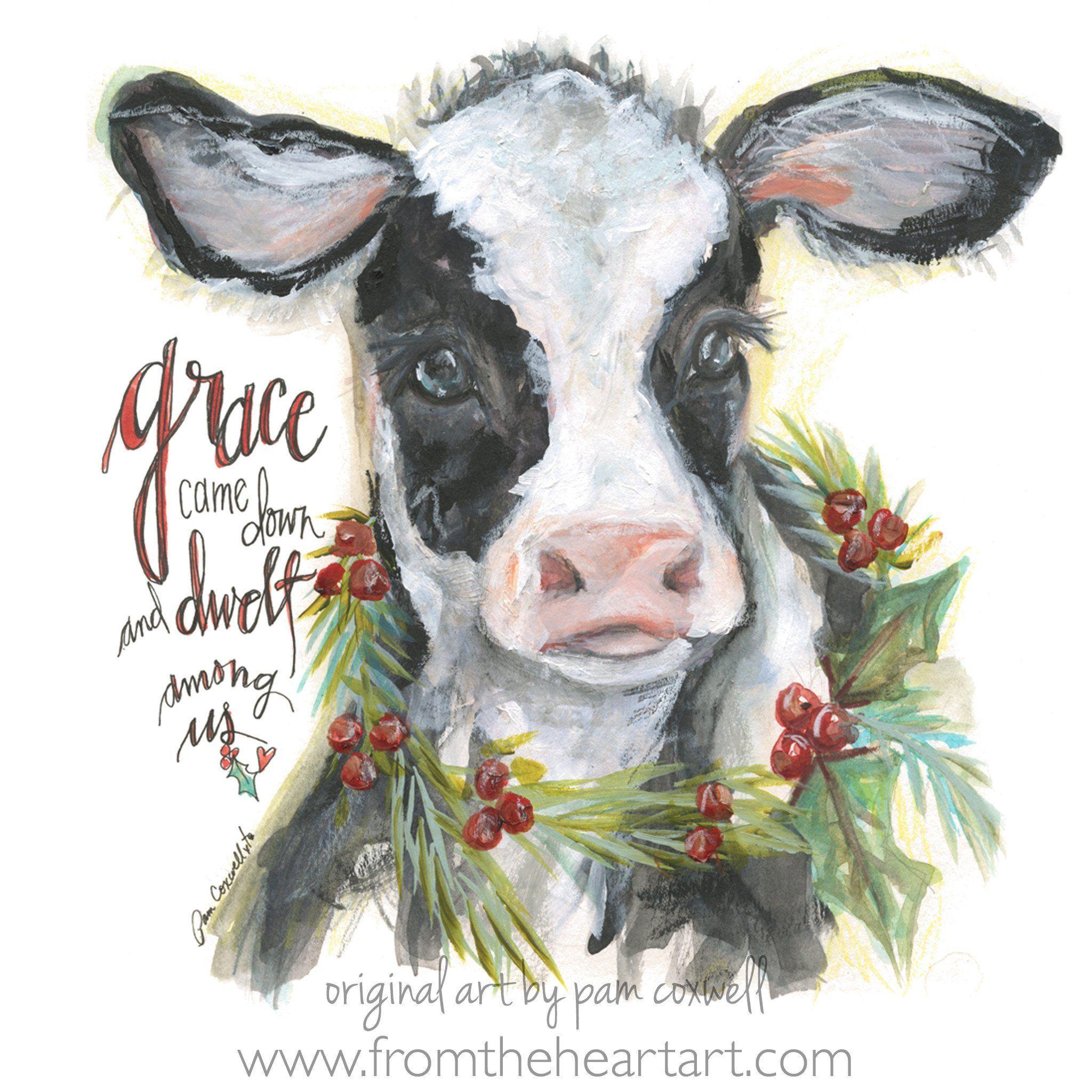 Christmas Cow Cow Painting Christmas Paintings Christmas Canvas
