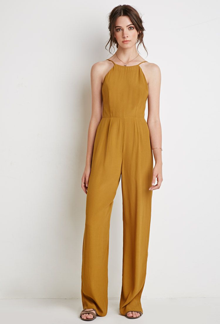 Forever 21 Yellow Low Back Halter Jumpsuit Pesquisa Google